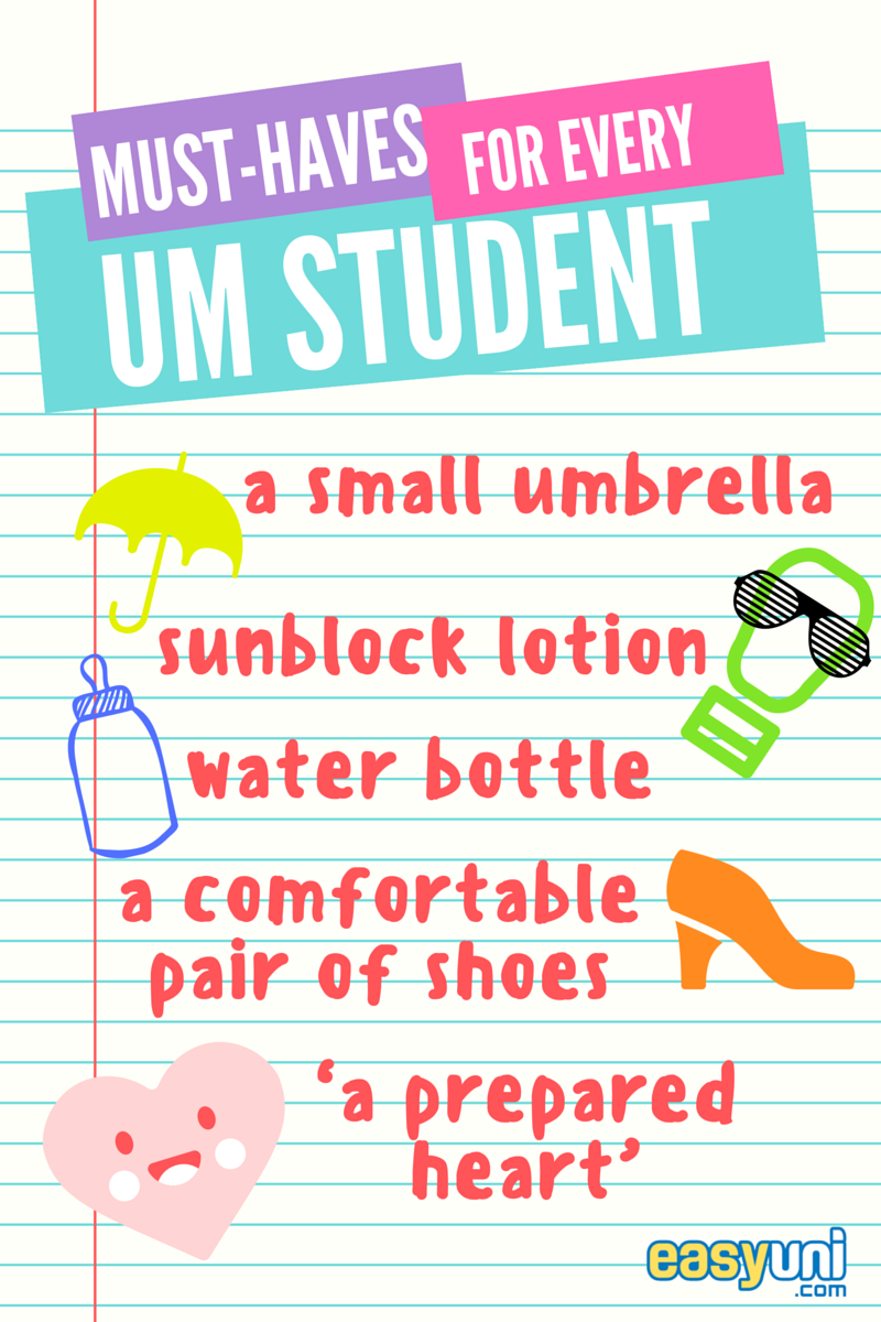 Must-haves, must haves, list, University of Malaya, UM, umbrella, water, shoes, sunblock, heart