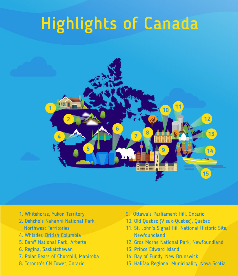 Places to go to in Canada, Map of Canada